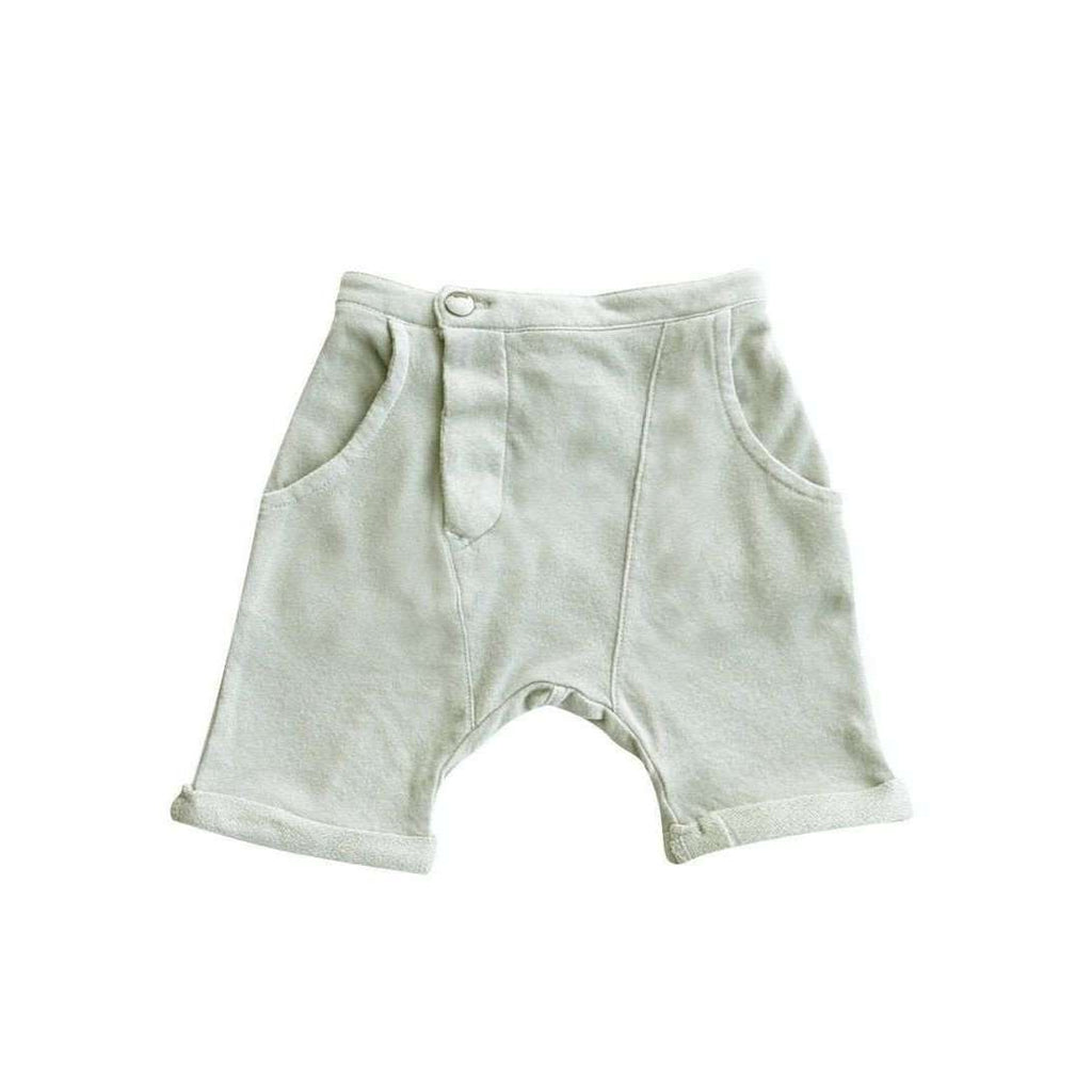 OMAMIMINI:Kids Asymmetrical Shorts in Terry | Mint OM216