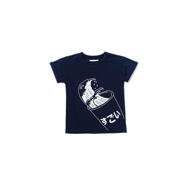 OMAMIMINI:Kids Boxy T-Shirt with Japanese Soda Print | Navy OM364