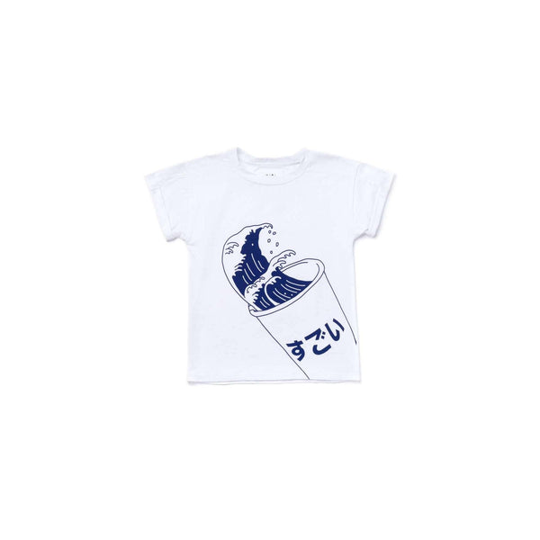 OMAMIMINI:Kids Boxy T-Shirt with Japanese Soda Print | White OM364
