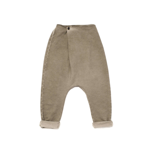 OMAMIMINI:Kids Drop Crotch Terry Trousers with Front Fold | Vintage Grey OM256