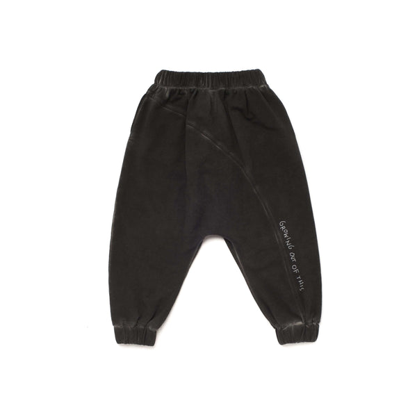 OMAMIMINI:Kids Joggers with Diagonal Back Seam and Print | Vintage Black OM257
