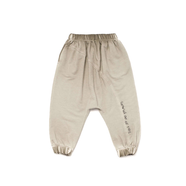 OMAMIMINI:Kids Joggers with Diagonal Back Seam and Print | Vintage Grey OM257