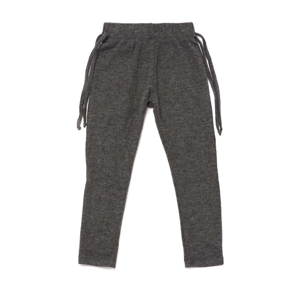 OMAMIMINI:Kids Knit Leggings with Side Strings | Charcoal OM248
