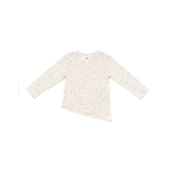OMAMIMINI:Kids' Long Sleeve Knit with Asymmetrical Hem | White OM254