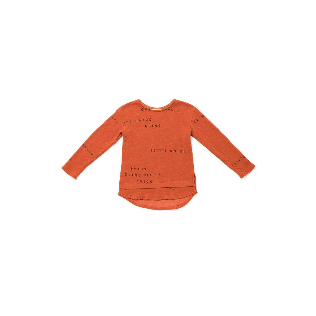 OMAMIMINI:Kids Long Sleeve T-shirt with 'Going Places' Print | Rust OM322