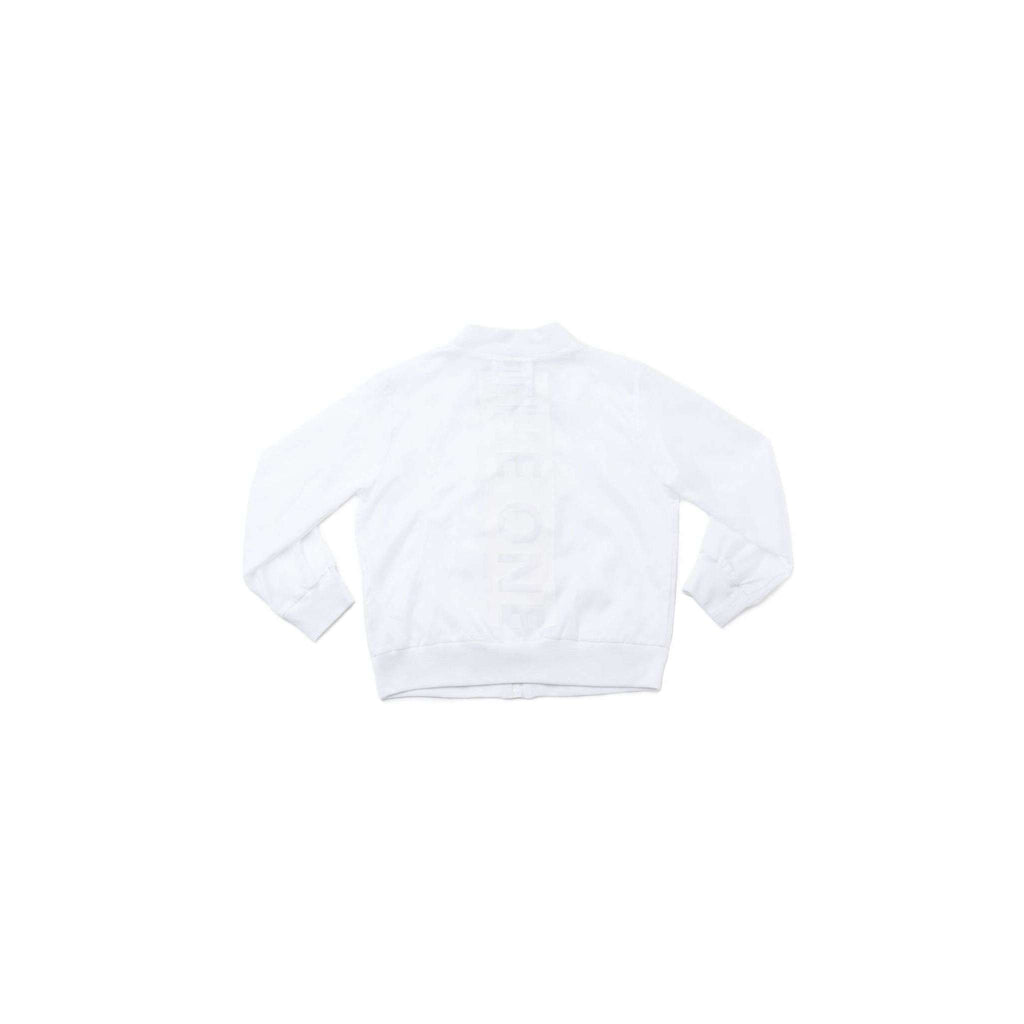 OMAMIMINI:Kids Nylon Bomber with Back Print | White OM260