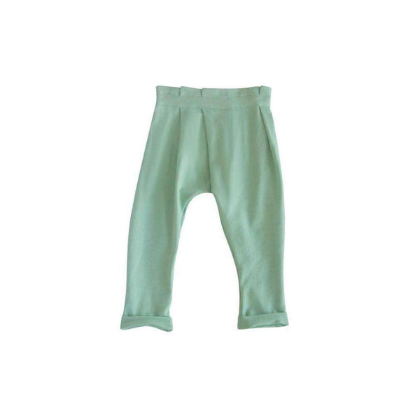 OMAMIMINI:Kids Pants with Asymmetrical Pleats | Mint OM45