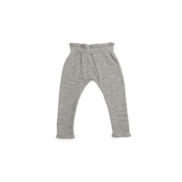 OMAMIMINI:Kids Pleated Knitted Pants | Light Grey OM117a