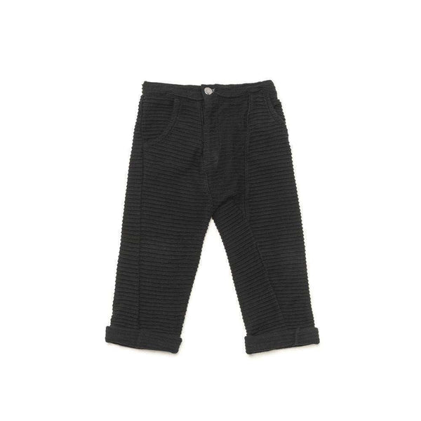 OMAMIMINI:Kids Textured Relaxed Terry Pants | Black OM214