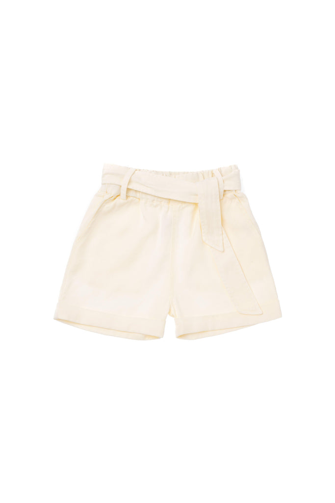 Girls' Colored Denim Shorts with Tie Belt - Cream | OM420 - OMAMImini