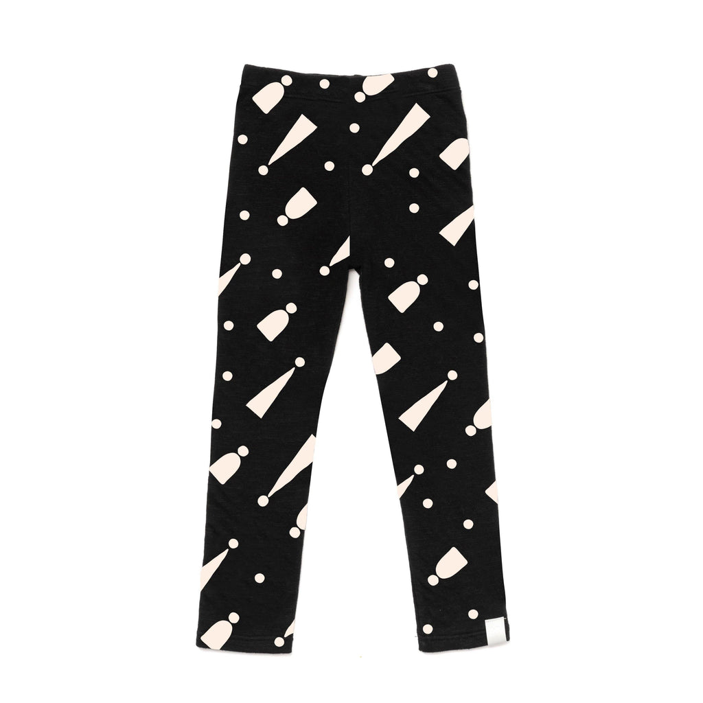 Kids Two-Ply Jersey Leggings with Print | Black with Hats | OM396B - OMAMImini