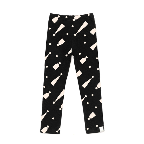 Kids Two-Ply Jersey Leggings with Print | Black with Hats | OM396B