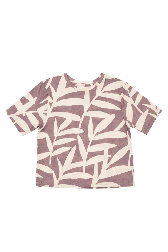 Boys' Boxy T-Shirt with All Over Palm Leaves Print - Stone Palm Leaves | OM427B - OMAMImini