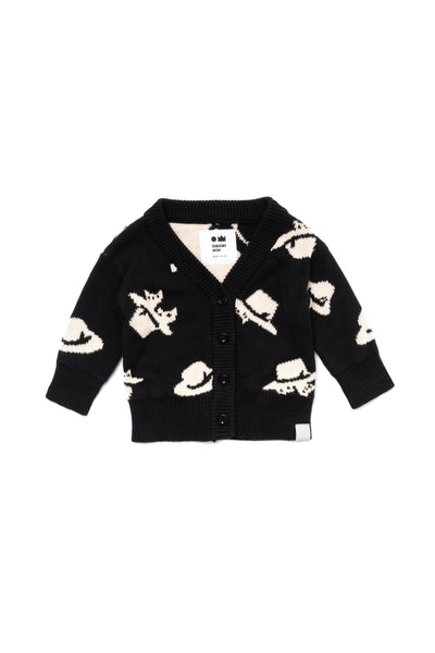 Baby Knit Cardigan with Cats and Hats Pattern | Black | OM414