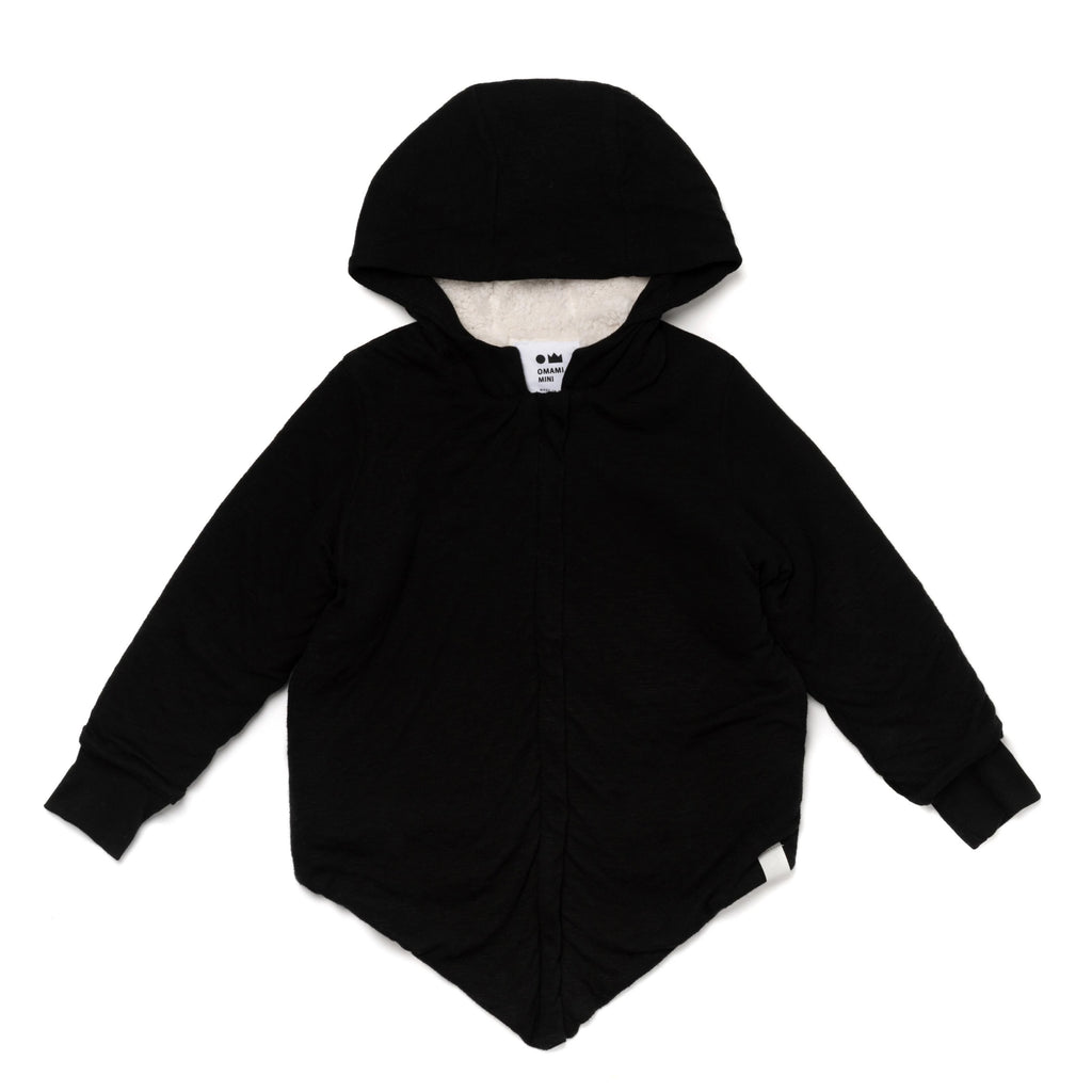 Kids Hi-Low Hooded Jacket with Sherpa Lining | Black | OM402