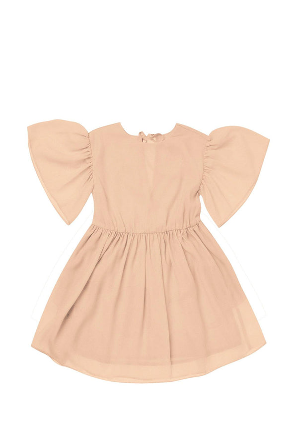 Girls' Fit & Flare Dress with Flutter Sleeve - Peach | OM414B