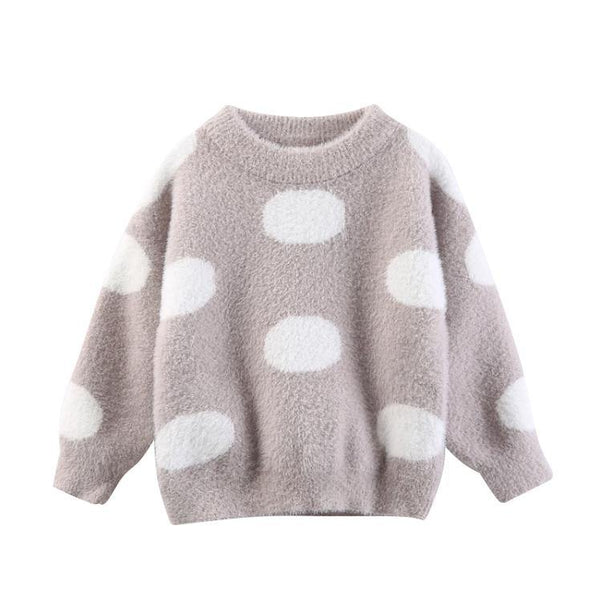Girls' Polka-dot Sweater - Taupe