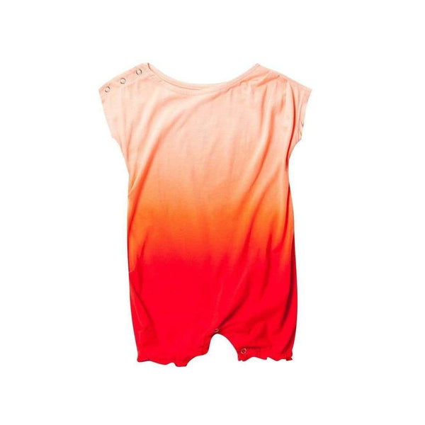 OMAMIMINI:Ombre dye pleated Romper | Coral OM151