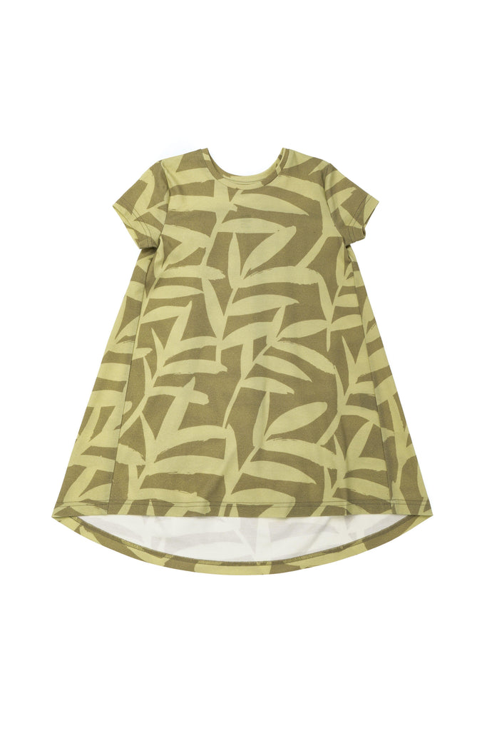 Girls' Tent Dress with Back Ruffle - Olive Palm Leaves | OM422