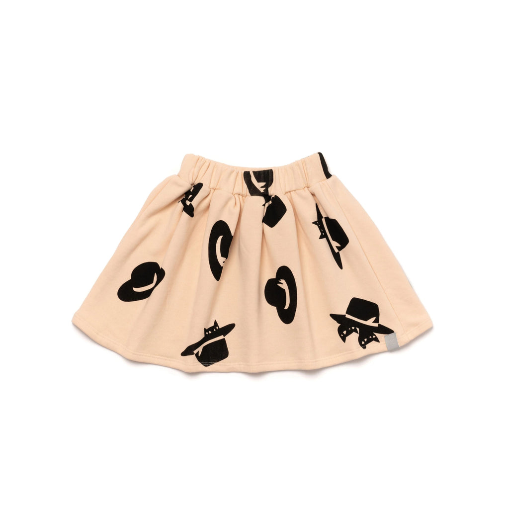 Girls Terry Skirt with Cats and Hats Print | Pale Pink | OM391