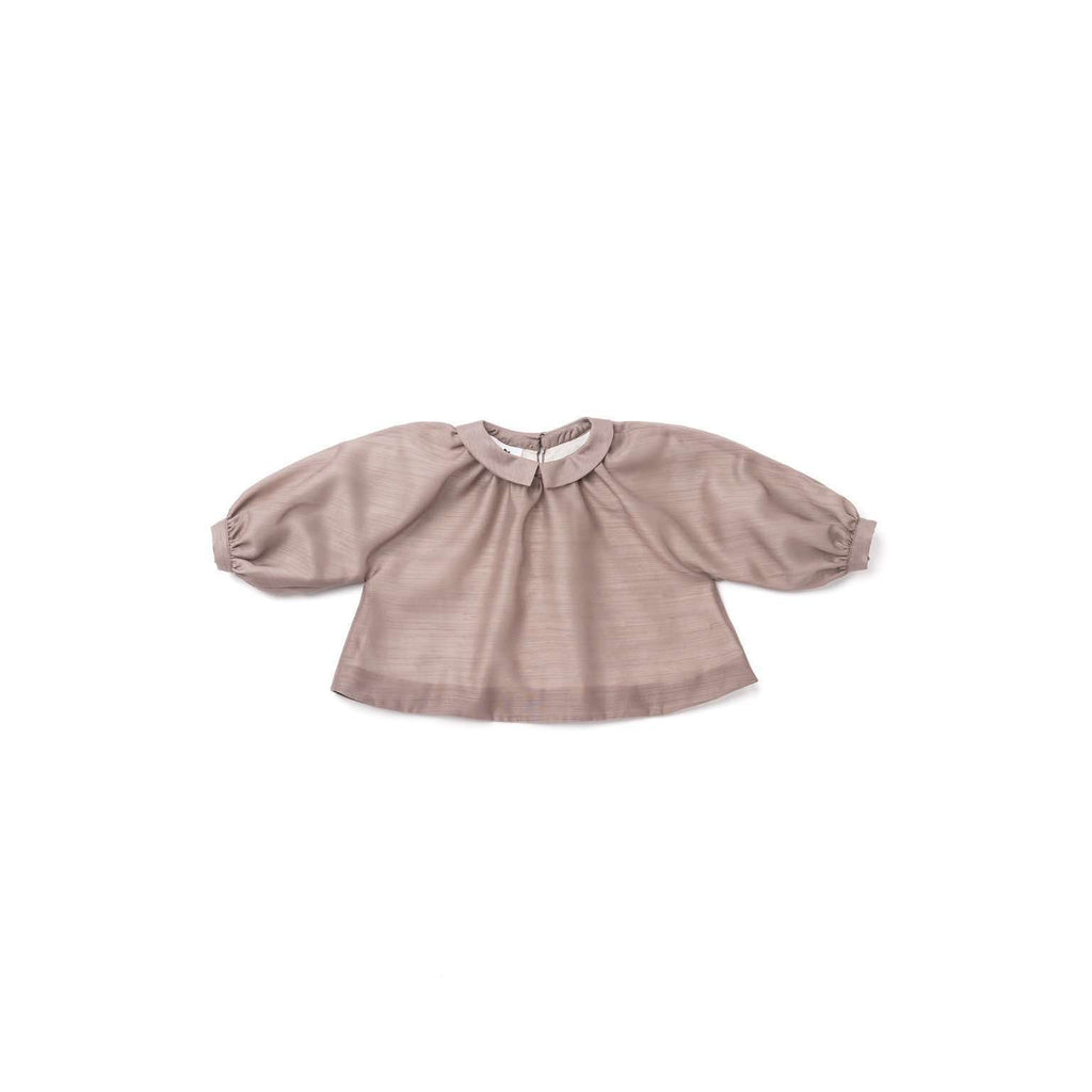 OMAMIMINI:Peasant Voile Blouse| Taupe OM297