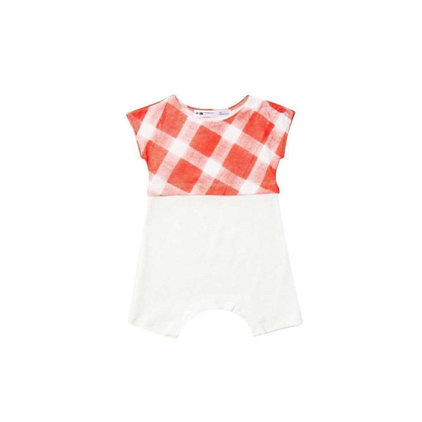 OMAMIMINI:Playsuit with Gingham | Coral OM136