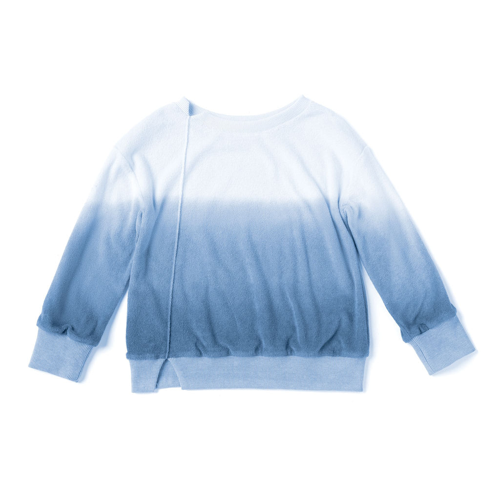 Kids Oversized Terry Pullover | Blue Ombre OM507