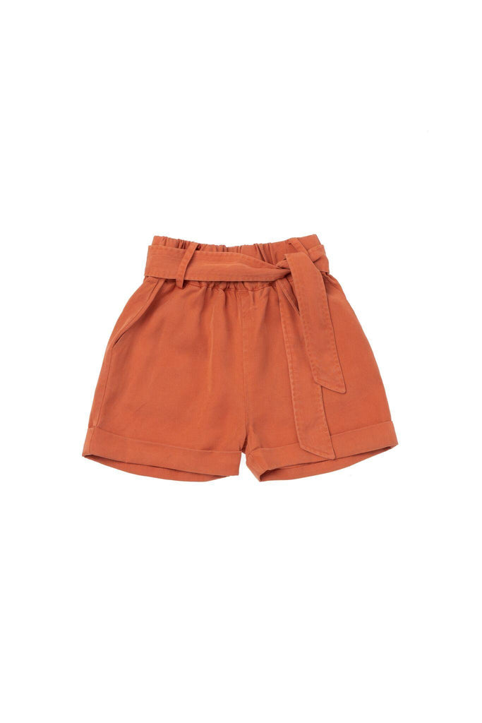 Girls' Colored Denim Shorts with Tie Belt - Brick | OM420