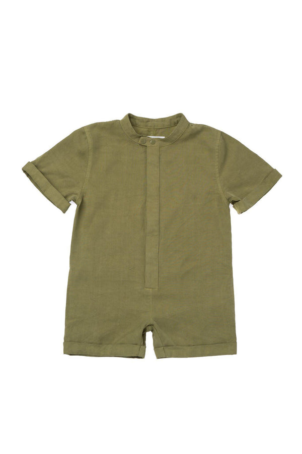 Kids' Mechanic Short Jumpsuit - Olive | OM423