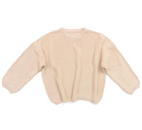 Cotton Knit Oversized Sweater | Sand