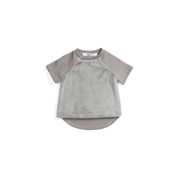 OMAMIMINI:Short Sleeve Girls Sweatshirt Top with Faux Fur Front | Silver OM114