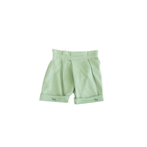 OMAMIMINI:Shorts with Asymmetrical Pleats and Print on Cuffs | Mint OM43