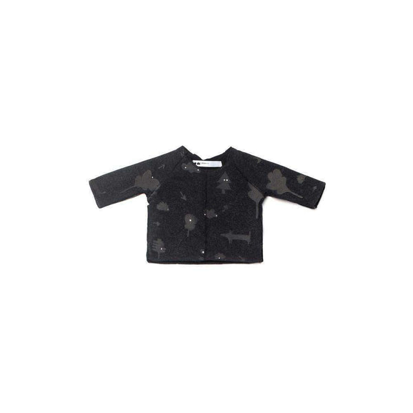 OMAMIMINI:Soft Knit Baby Top with Secret Forest Print | Charcoal OM193