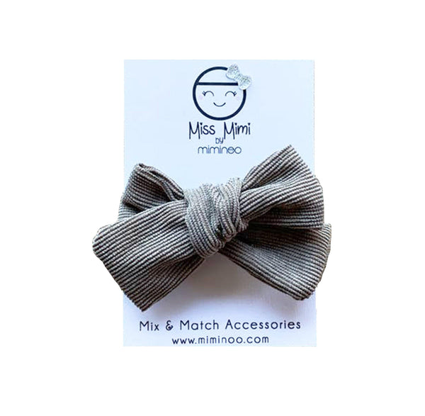 Corduroy Hair Bow - Taupe