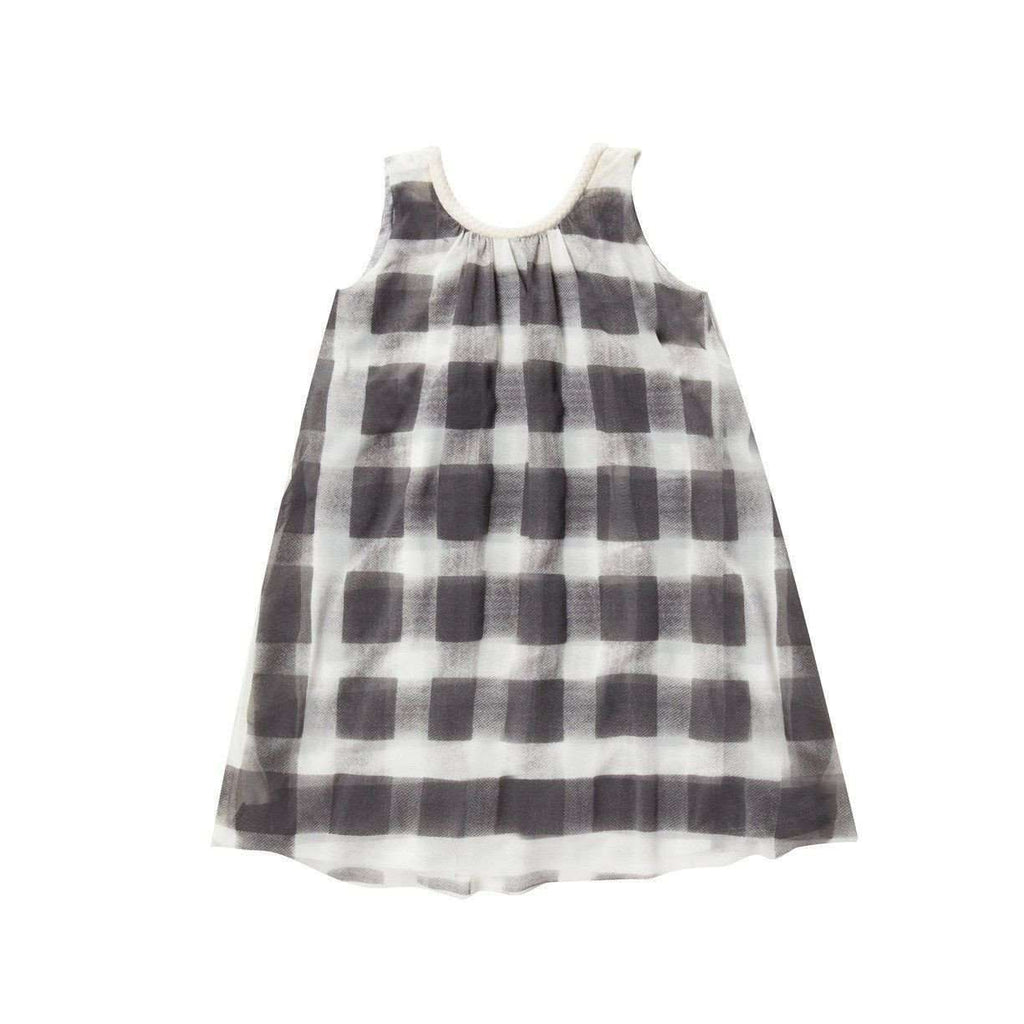 OMAMIMINI:Tent dress with gingham print | Charcoal OM153