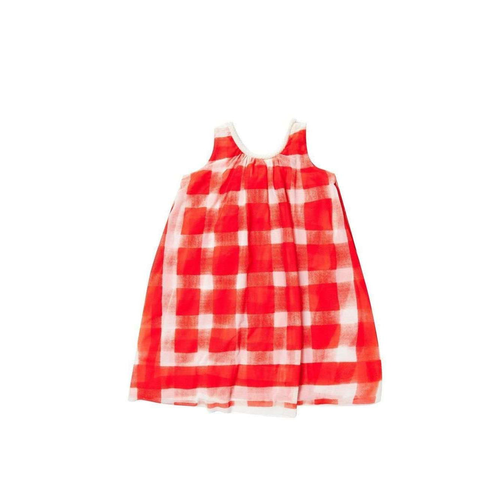 OMAMIMINI:Tent dress with gingham print | Coral OM153