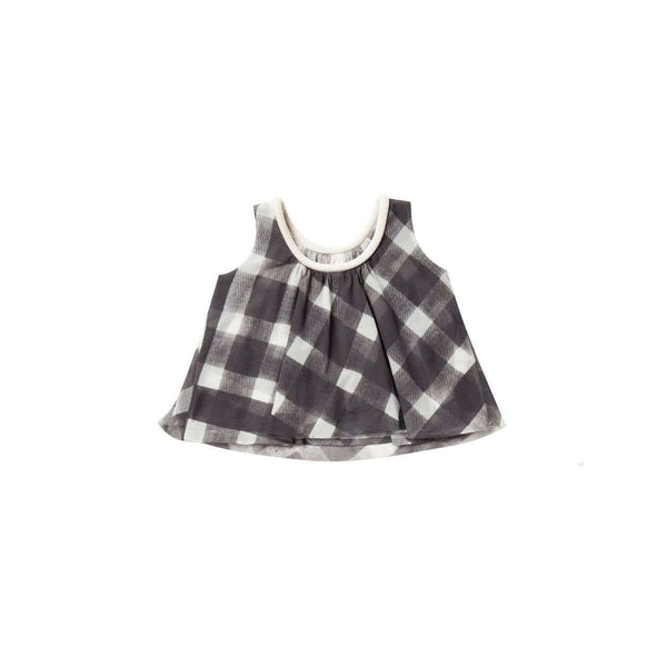 OMAMIMINI:Tent top with gingham print | Charcoal OM154