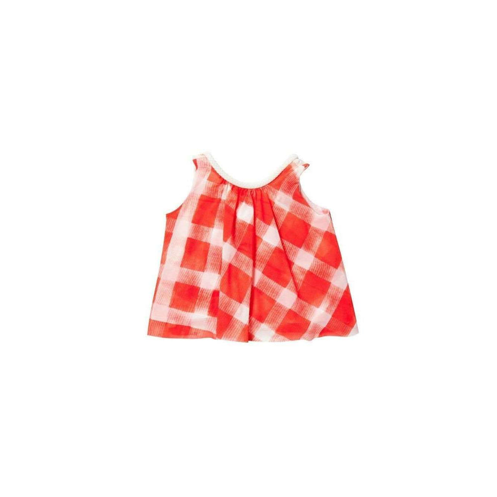 OMAMIMINI:Tent top with gingham print | Coral OM154