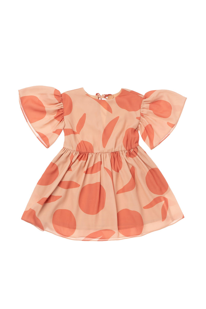 Girls' Fit & Flare Dress with Flutter Sleeve - Peach | OM414A