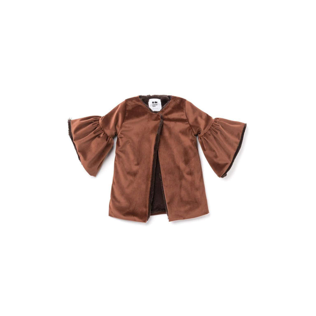 OMAMIMINI:Velvet Coat with Faux Fur Lining | Brown OM304