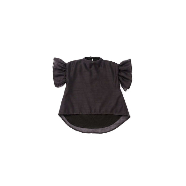 OMAMIMINI:Voile Top with Ruffle Sleeve | Black OM302