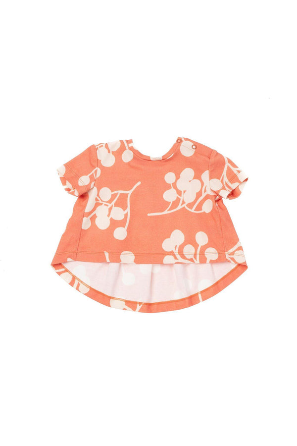Baby T-Shirt with Ruffled Back - Brick Berries | OM441