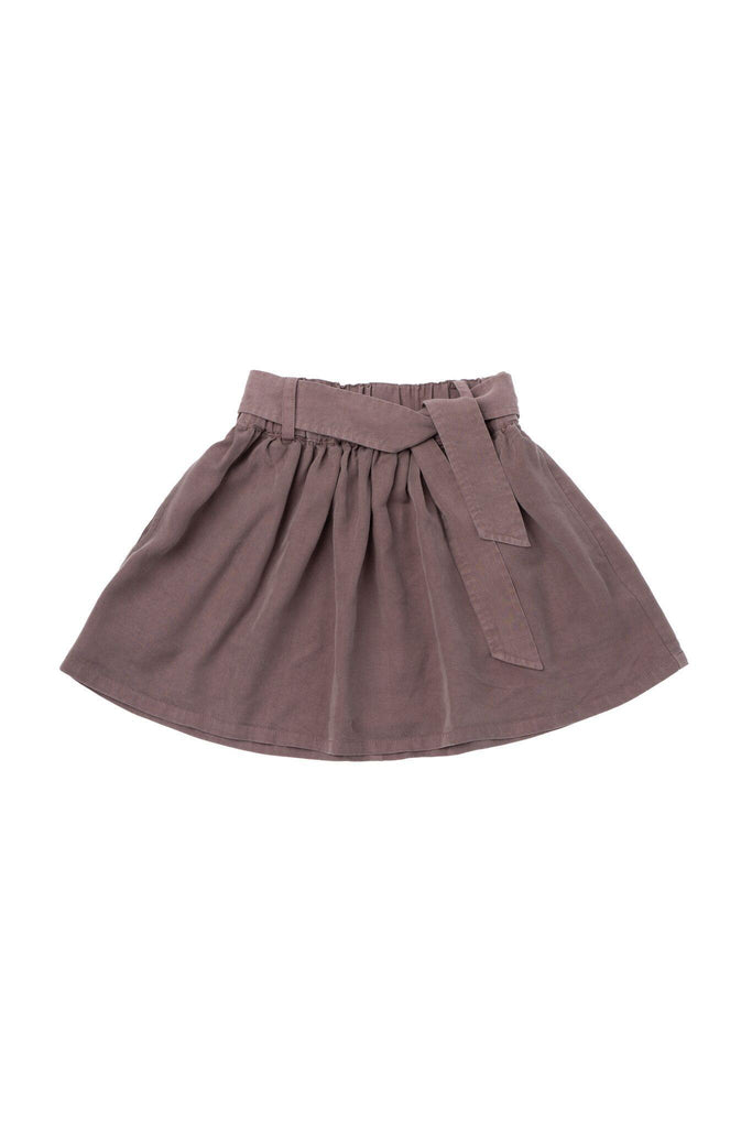 Girls' Denim Skirt with Tie Belt - Stone | OM418B - OMAMImini
