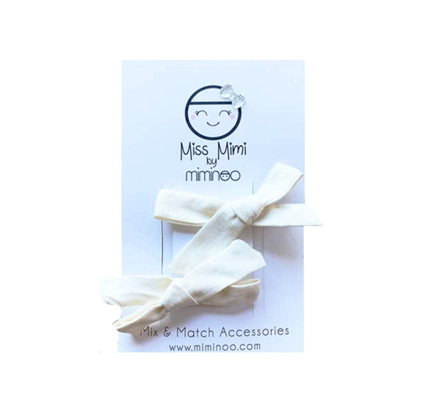 Set of 2 Hair Bow Clips - Ivory