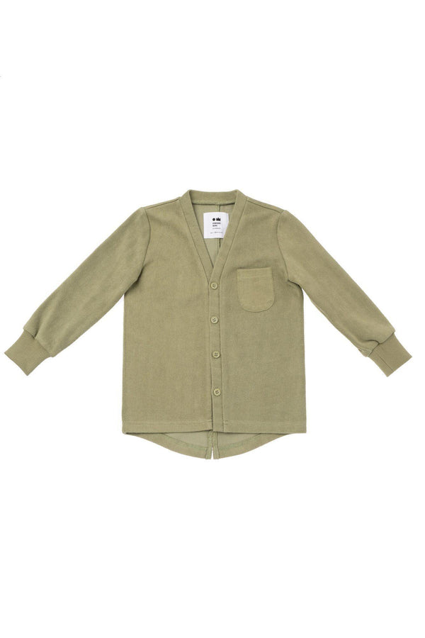 Kids' Terry Cardigan - Olive | OM432