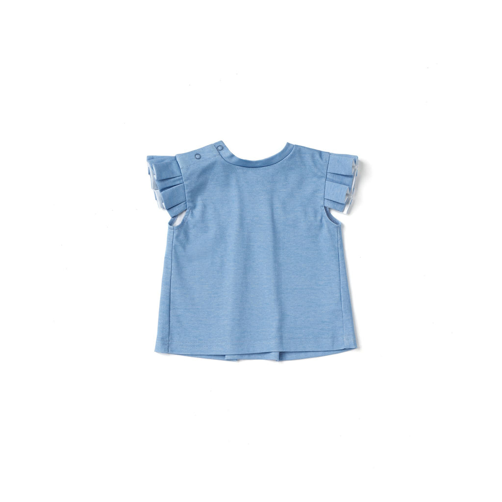 Baby Girl Jersey Top with Knife Pleated Sleeve Ruffle | Blue OM521