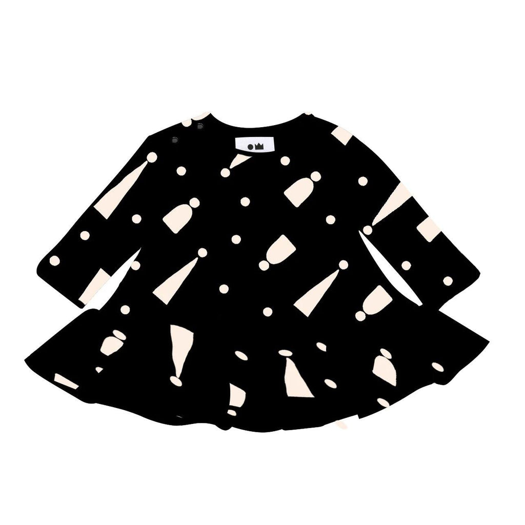 Baby Ruffle Dress with Print | Black | OM411