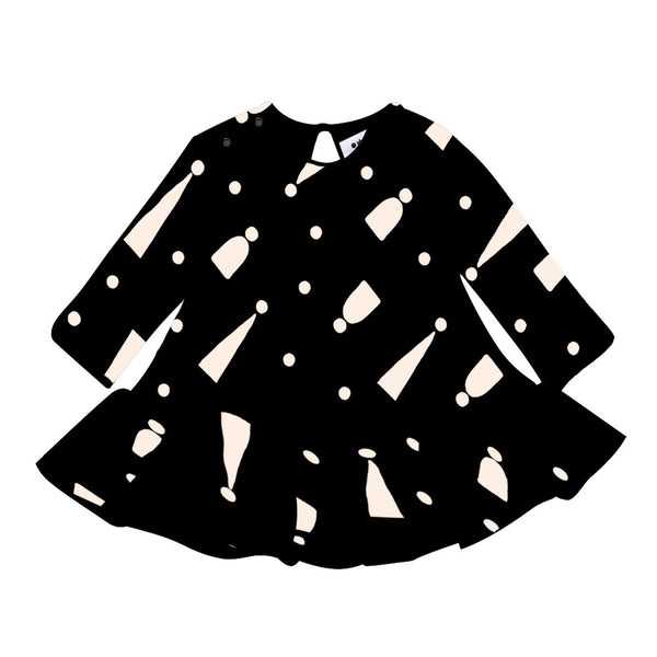 Girls Terry Ruffle Dress with Print | Black | OM389