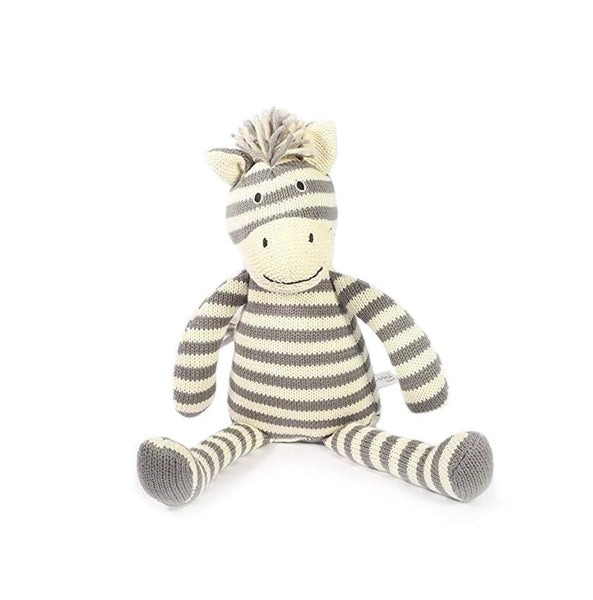 Striped Knitted Zebra Doll | Gray