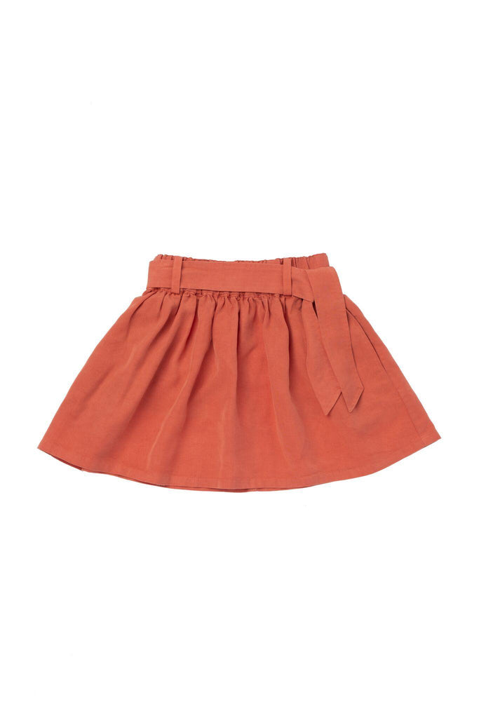 Girls' Denim Skirt with Tie Belt - Brick | OM418B